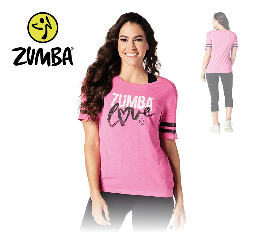 zumba love t shirt pink s. Black Bedroom Furniture Sets. Home Design Ideas